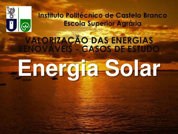 Instituto Politécnico de Castelo Branco            Escola Superior Agrária VALORIZAÇÃO DAS ENERGIASRENOVÁVEIS - CASOS DE E...