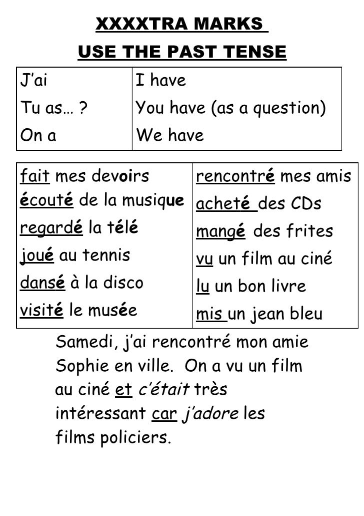 XXXXTRA MARKS          USE THE PAST TENSE J'ai             I have Tu as… ?         You have (as a question) On a          ...