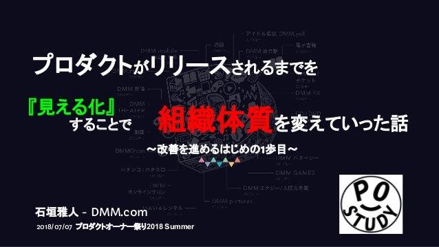プロダクトがリリースされるまでを 『見える化』 することで 組織体質を変えていった話 石垣雅人 - DMM.com 2018/07/07 プロダクトオーナー祭り2018 Summer 〜改善を進めるはじめの1歩目〜