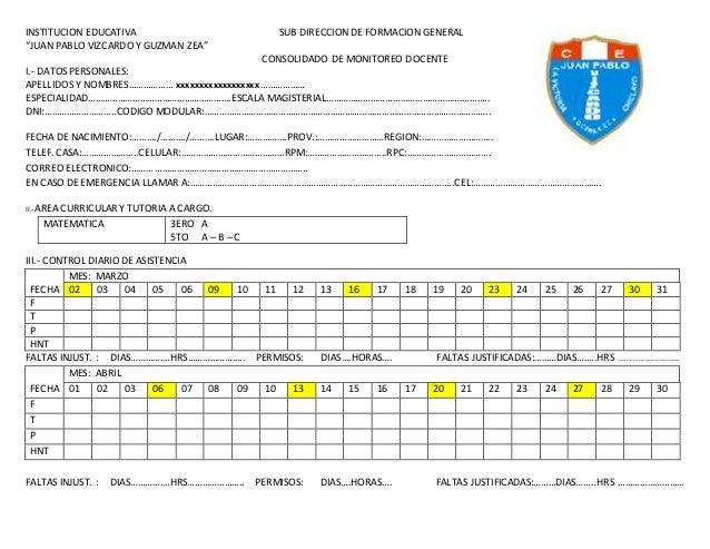 """INSTITUCION EDUCATIVA SUB DIRECCION DE FORMACION GENERAL """"JUAN PABLO VIZCARDO Y GUZMAN ZEA"""" CONSOLIDADO DE MONITOREO DOCEN..."""