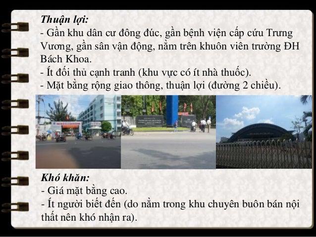 Thuận lợi: - Gần khu dân cư đông đúc, gần bệnh viện cấp cứu Trưng Vương, gần sân vận động, nằm trên khuôn viên trường ĐH B...