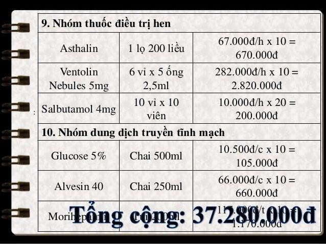 : 9. Nhóm thuốc điều trị hen Asthalin 1 lọ 200 liều 67.000đ/h x 10 = 670.000đ Ventolin Nebules 5mg 6 vỉ x 5 ống 2,5ml 282....