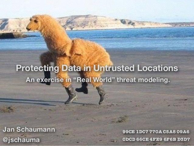 Jan Schaumann @jschauma 99CE 1DC7 770A C5A8 09A6 0DCD 66CE 4FE9 6F6B D3D7 Protecting Data in Untrusted Locations An exerci...