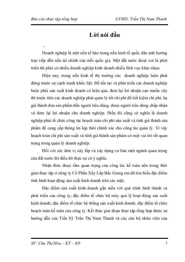 Báo cáo thực tập tổng hợp  GVHD: Trần Thị Nam Thanh  Lời nói đầu Doanh nghiệp là một nền tế bào trong nền kinh tế quốc dân...