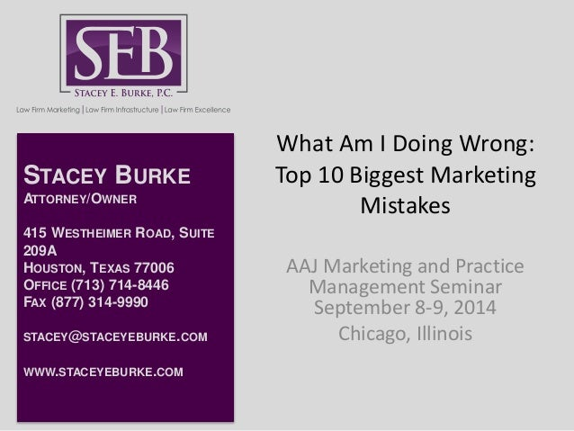 What Am I Doing Wrong:  Top 10 Biggest Marketing  Mistakes  AAJ Marketing and Practice  Management Seminar  September 8-9,...