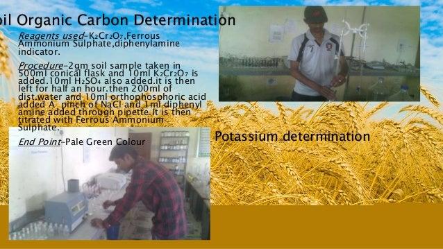 oil Organic Carbon Determination Reagents used-K₂Cr₂O₇,Ferrous Ammonium Sulphate,diphenylamine indicator. Procedure-2gm so...