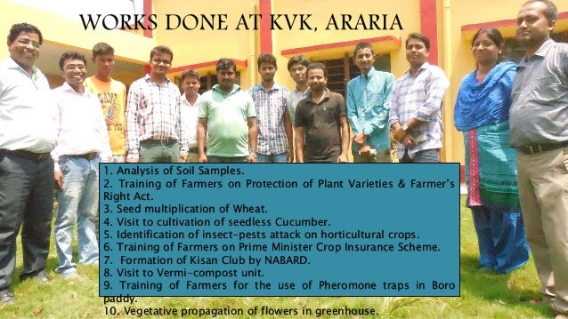 WORKS DONE AT KVK, ARARIA 1. Analysis of Soil Samples. 2. Training of Farmers on Protection of Plant Varieties & Farmer's ...