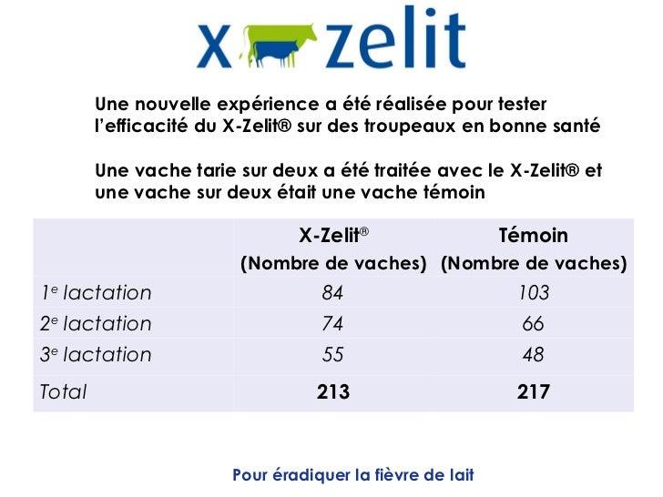 Une nouvelle expérience a été réalisée pour tester        l'efficacité du X-Zelit® sur des troupeaux en bonne santé       ...