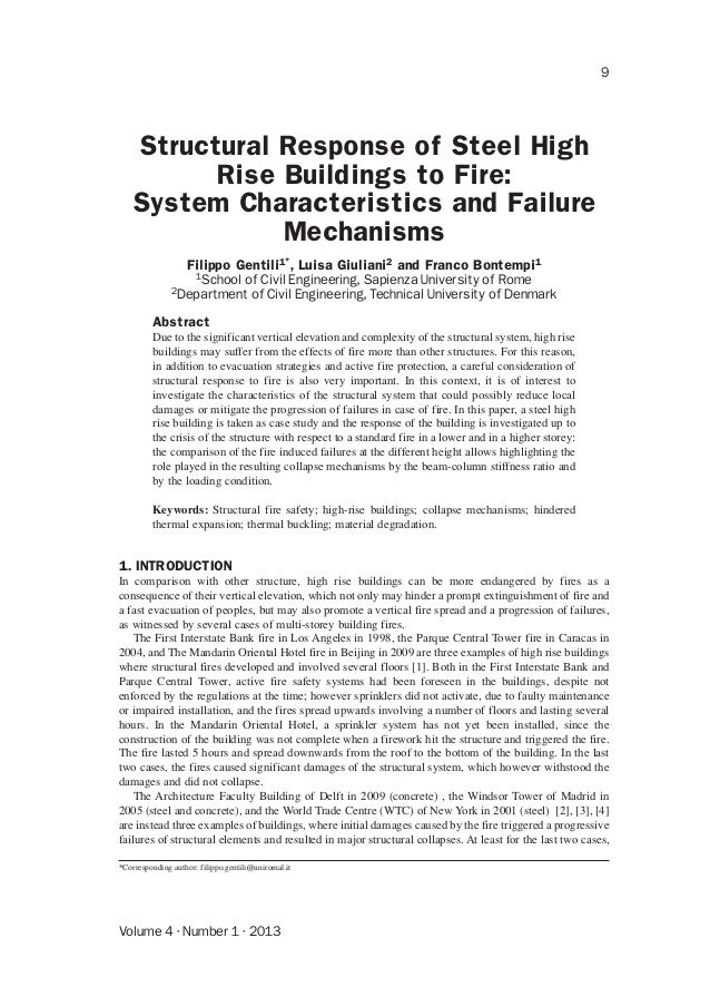Volume 4 · Number 1 · 2013 9 Structural Response of Steel High Rise Buildings to Fire: System Characteristics and Failure ...