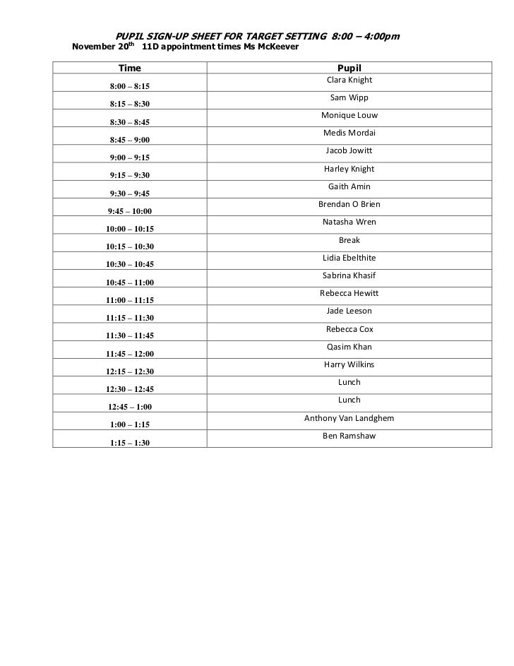 PUPIL SIGN-UP SHEET FOR TARGET SETTING 8:00 – 4:00pmNovember 20th 11D appointment times Ms McKeever          Time         ...