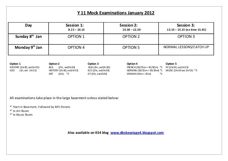Y11 Mock Examinations January 2012