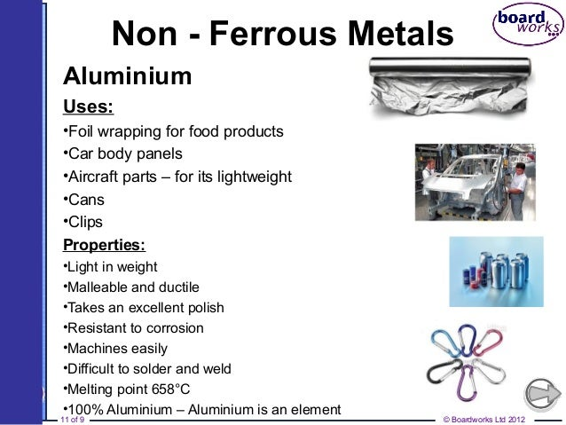 ferrous and non ferrous alloys Alloy metals such as duralumin (which is composed of a combination of copper and manganese in a 4:1 ratio besides aluminum), brass (which is 35% zinc and 65% copper) and gliding metal (an alloy of 15% zinc and 85% copper) are some of the most prominent non-ferrous metal examples that are made by combining two or more other non-ferrous base.