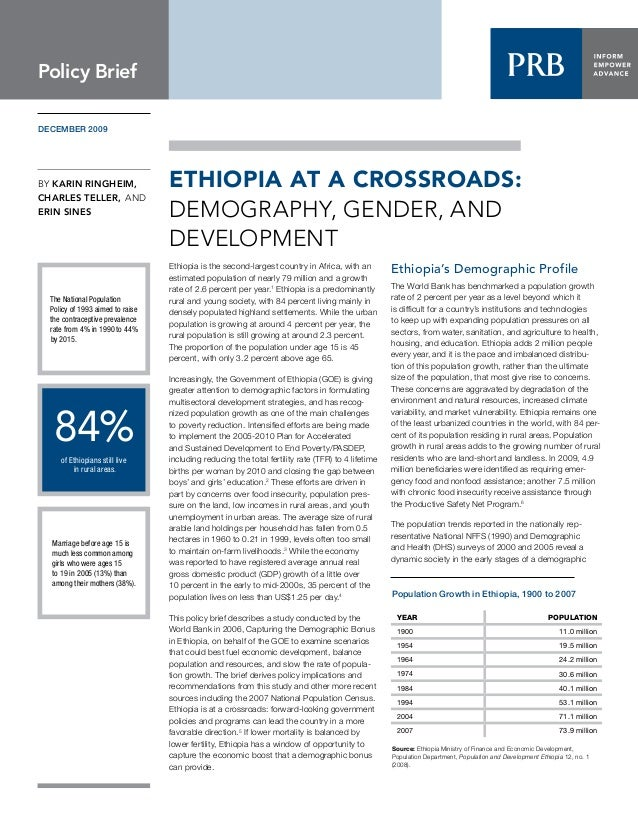 BY Karin Ringheim, CHARLES TELLER, AND ERIN SINES DECEMBER 2009 Ethiopia is the second-largest country in Africa, with an ...