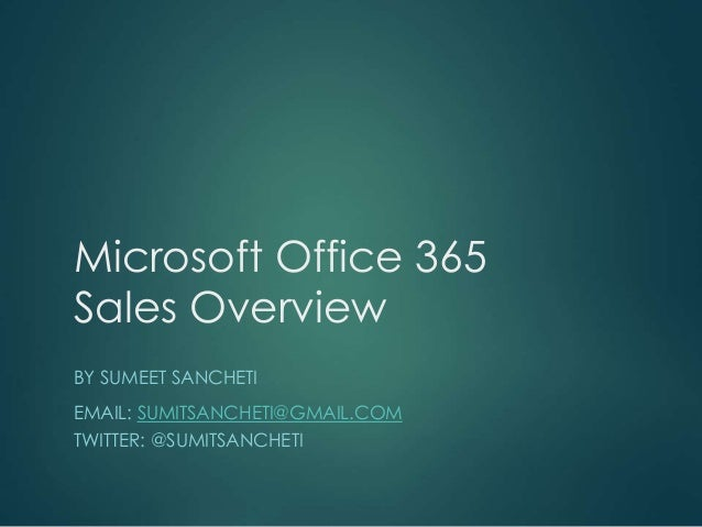 office 365 sales overview presentation