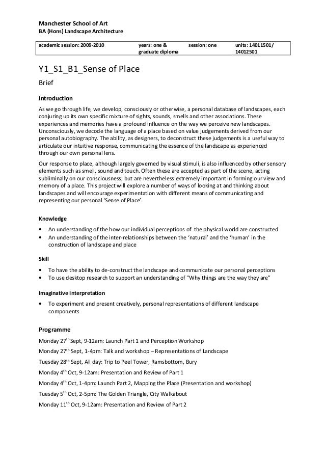 Manchester School of Art BA (Hons) Landscape Architecture academic session: 2009-2010 years: one & graduate diploma sessio...