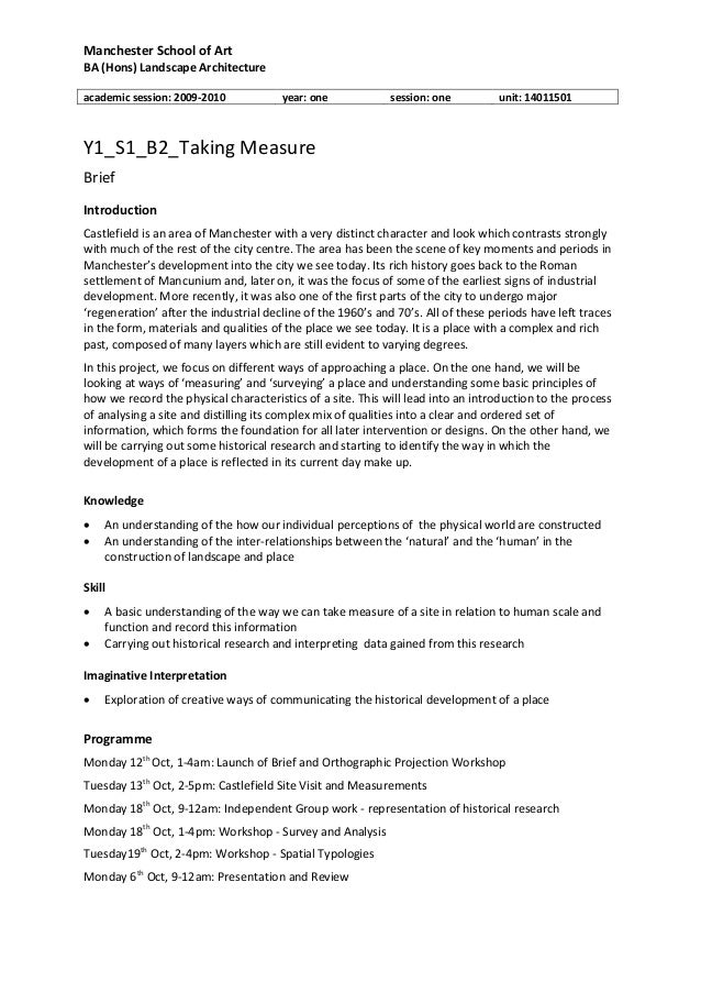 Manchester School of Art BA (Hons) Landscape Architecture academic session: 2009-2010 year: one session: one unit: 1401150...