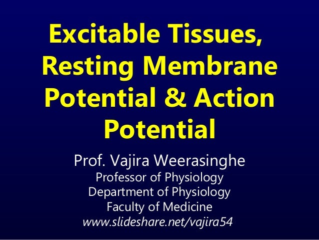Excitable Tissues,Resting MembranePotential & ActionPotentialProf. Vajira WeerasingheProfessor of PhysiologyDepartment of ...