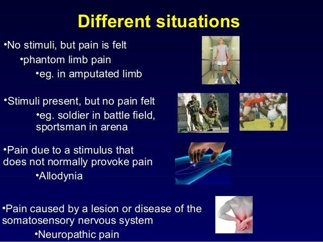 Different situations •No stimuli, but pain is felt •phantom limb pain •eg. in amputated limb •Stimuli present, but no pain...