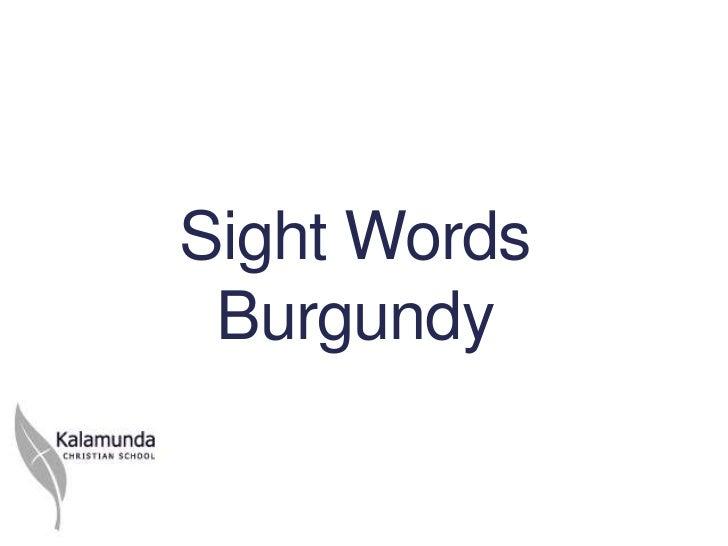 Sight Words Burgundy