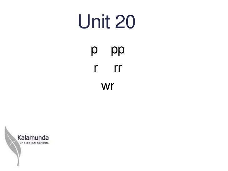 Unit 20 p    pp r     rr     wr
