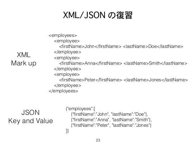 XML/JSON の復習 23 <employees> <employee> <firstName>John</firstName> <lastName>Doe</lastName> </employee> <employee> <firstName...