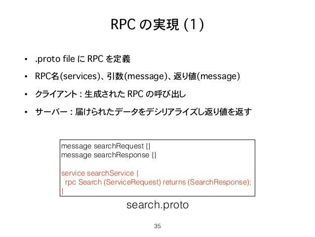 RPC の実現 (1) • .proto file に RPC を定義 • RPC名(services)、引数(message)、返り値(message) • クライアント : 生成された RPC の呼び出し • サーバー : 届けられたデータ...