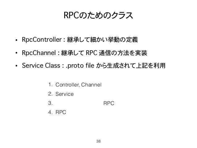 RPCのためのクラス • RpcController : 継承して細かい挙動の定義 • RpcChannel : 継承して RPC 通信の方法を実装 • Service�Class : .proto file から生成されて上記を利用 38 1...