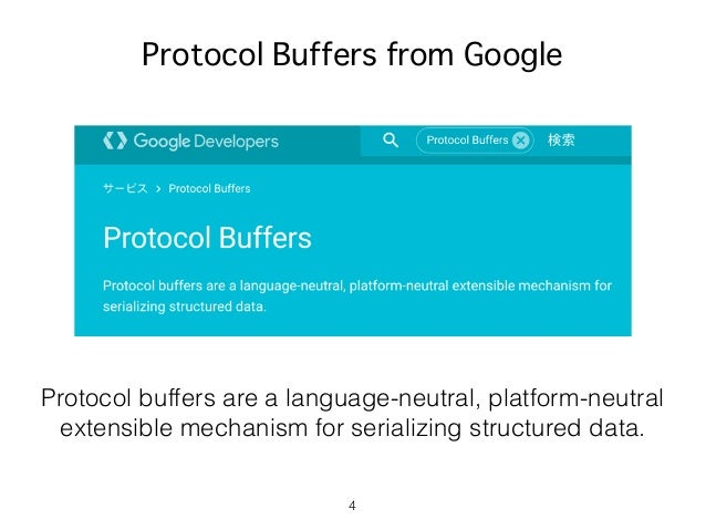 4 Protocol Buffers from Google Protocol buffers are a language-neutral, platform-neutral extensible mechanism for serializ...