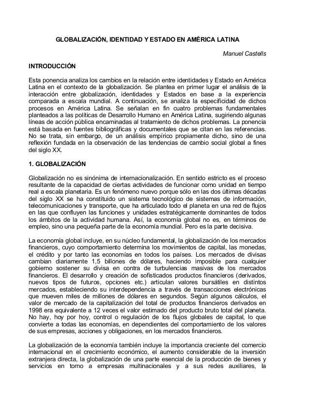 Globalización, identidad y Estado en América Latina, por Manuel Caste…