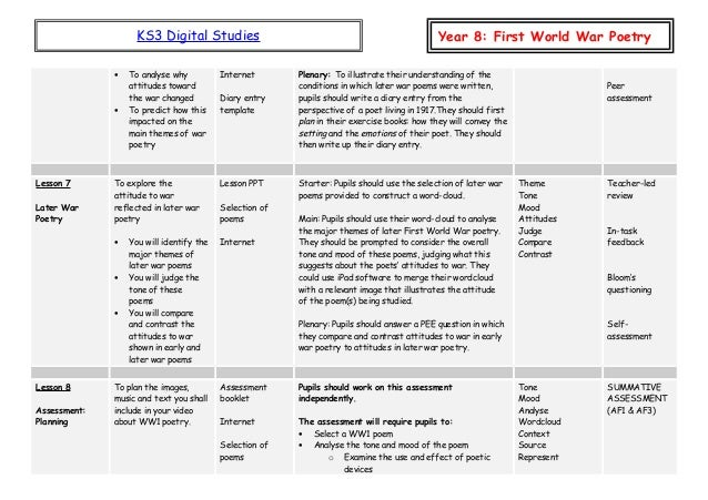 Y8 ww1 poetry sow v2 – Ww1 Worksheets