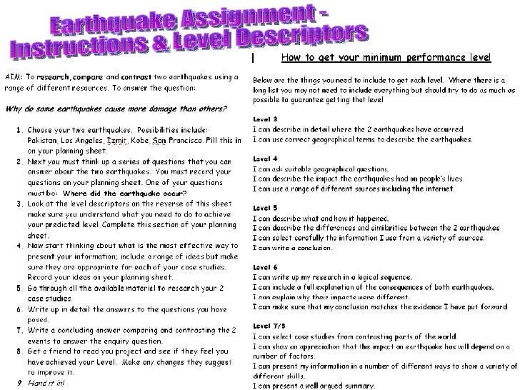 Earthquake Assignment -  Instructions & Level Descriptors