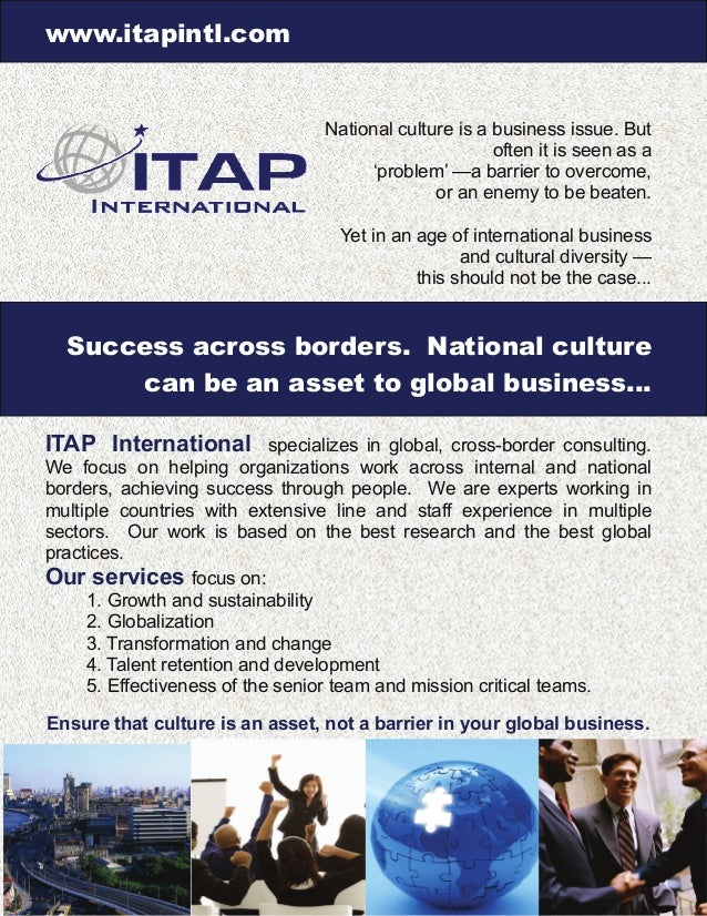 www.itapintl.com National culture is a business issue. But often it is seen as a 'problem' —a barrier to overcome, or an e...
