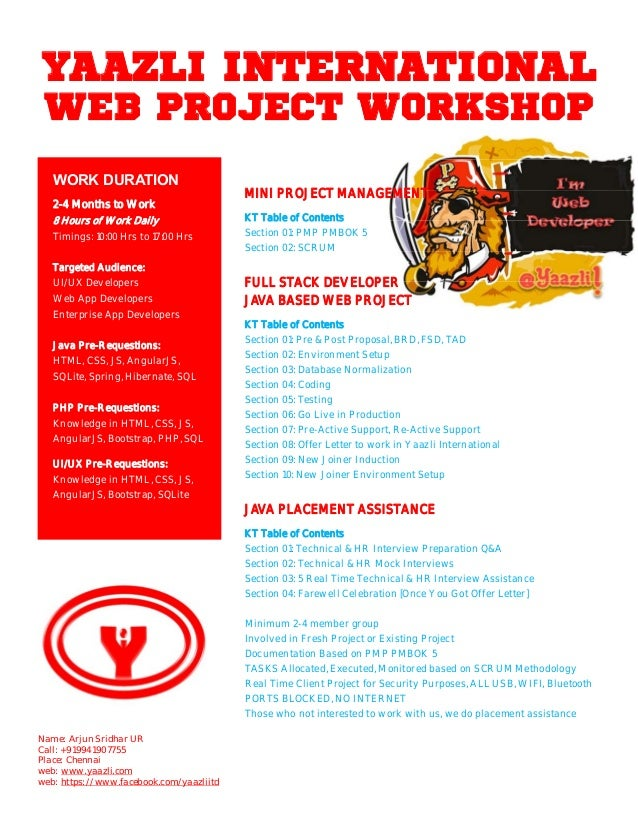 YAAZLI INTERNATIONAL WEB PROJECT WORKSHOP MINI PROJECT MANAGEMENT KT Table of Contents Section 01: PMP PMBOK 5 Section 02:...