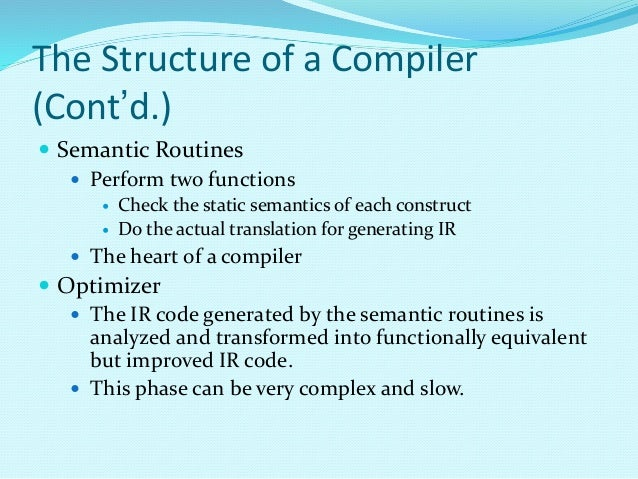 structure of compiler This section introduces the typical visual basic program structure, provides a simple visual basic program, hello, world, and discusses visual basic code conventions code conventions are suggestions that focus not on a program's logic but on its physical structure and appearance following them.