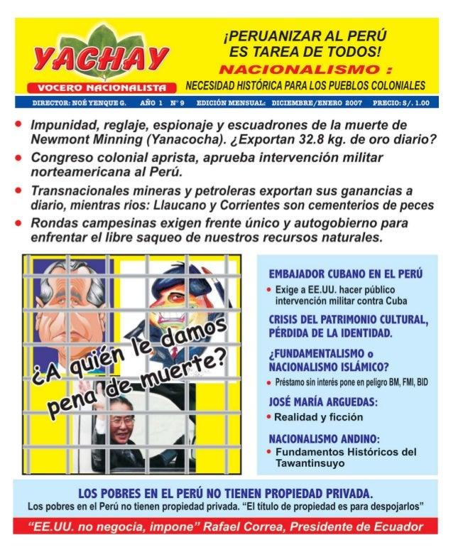 MensuarioEscríbanos a: yachay20@yahoo.esJr. Rufino Torrico N° 577 - Lima Telefax.: 426-5848Agradecemos a todos los lectore...