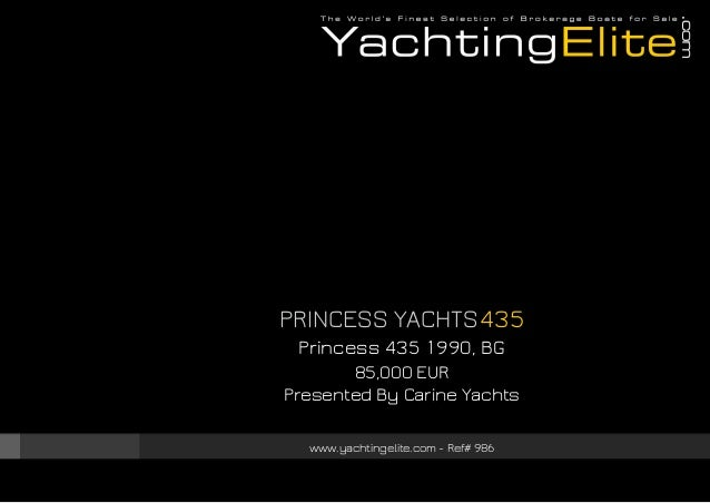 Princess Yachts 435 1990 85 000 For Sale Brochure Presented By Y