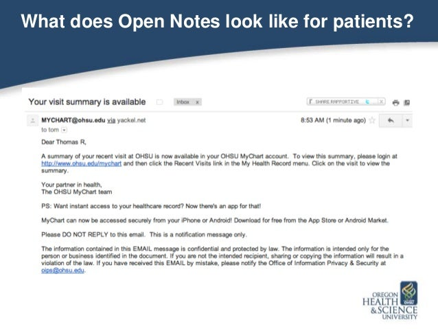 OHSU Grand Rounds - OpenNotes - Yackel & Woods December 2013