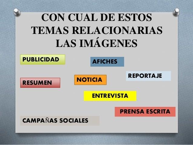 CON CUAL DE ESTOS TEMAS RELACIONARIAS LAS IMÁGENES NOTICIA PUBLICIDAD RESUMEN AFICHES REPORTAJE ENTREVISTA CAMPAÑAS SOCIAL...