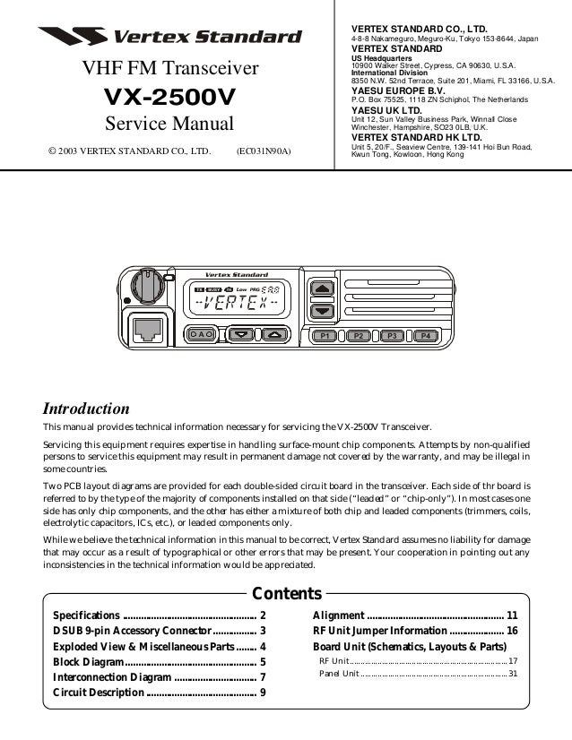 yaesu vertex standard vx 2500 service manual rh slideshare net Vertex From Standard Form Standard Two-Way Radios