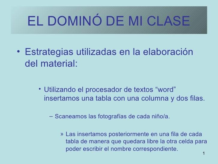 EL DOMINÓ DE MI CLASE <ul><li>Estrategias utilizadas en la elaboración del material: </li></ul><ul><ul><ul><li>Utilizando ...