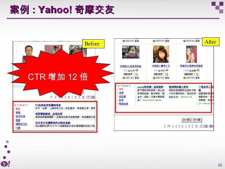 案例 : Yahoo! 奇摩交友 Before After CTR 增加 12 倍
