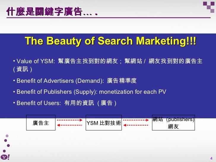什麼是關鍵字廣告… . <ul><li>The Beauty of Search Marketing!!! </li></ul><ul><ul><li>Value of YSM:  幫廣告主找到對的網友 ;  幫網站 /  網友找到對的廣告主 ...