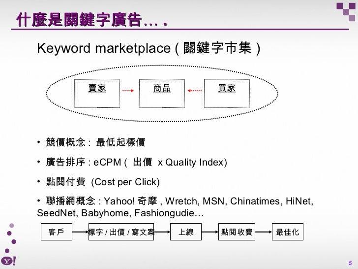 什麼是關鍵字廣告… . <ul><ul><li>Keyword marketplace ( 關鍵字市集 ) </li></ul></ul><ul><ul><li>競價概念 :  最低起標價 </li></ul></ul><ul><ul><li>...