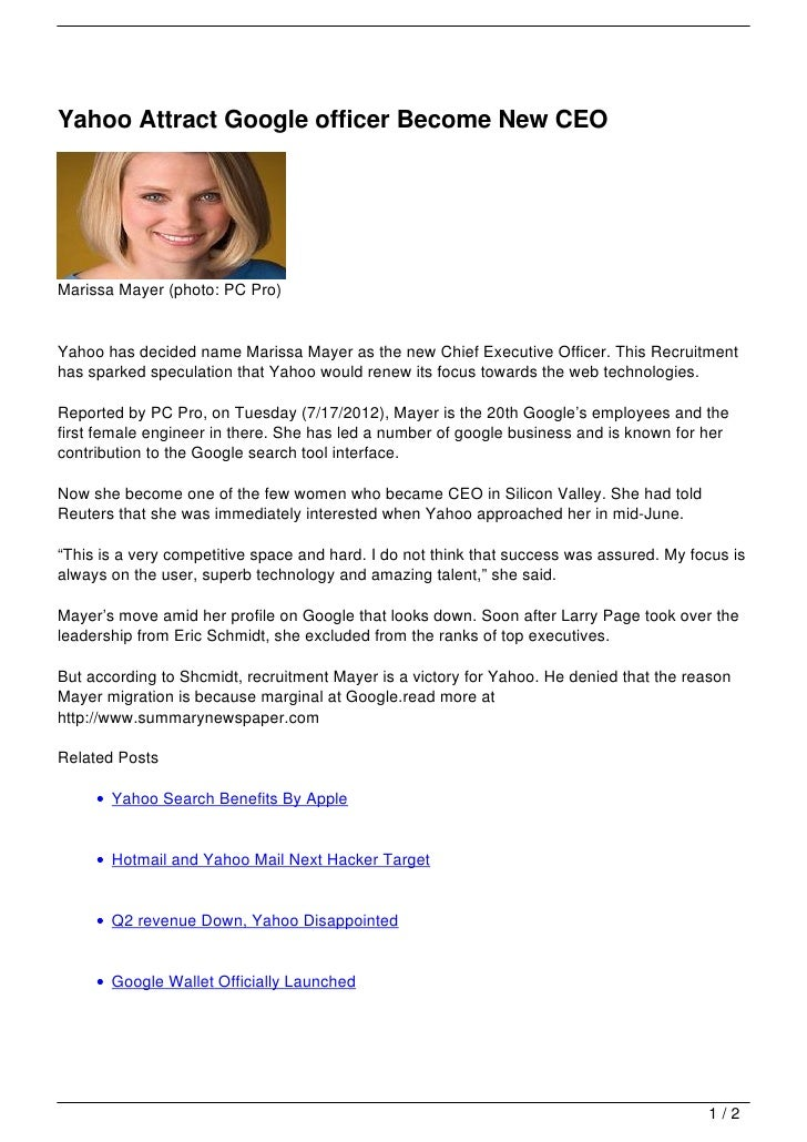 Yahoo Attract Google Officer Become New Ceo