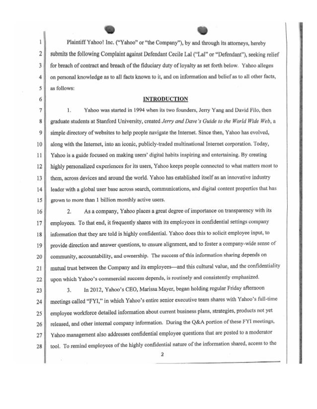 Yahoo's Lawsuit Against Former Employee for Leaking Information to Press Slide 2