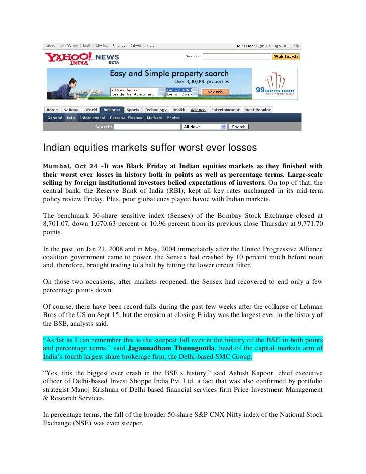 Yahoo News Oct 24,2008 Indian Equities Markets Suffer Worst Ever Loss…