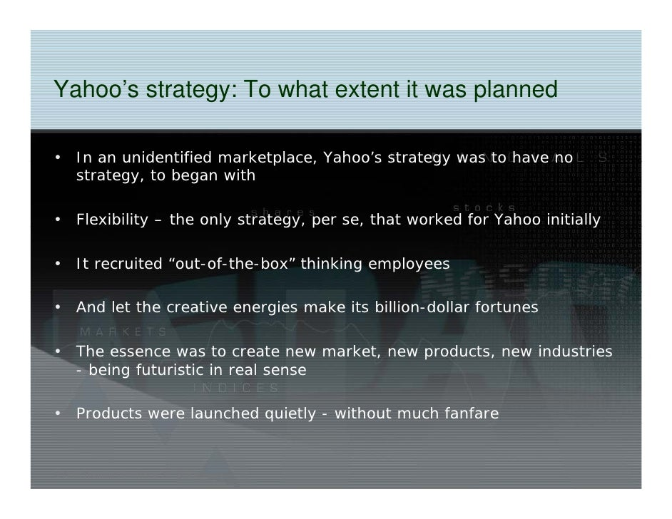 yahoo inc strategic analysis An analysis of yahoo's business strategy in the initial years.
