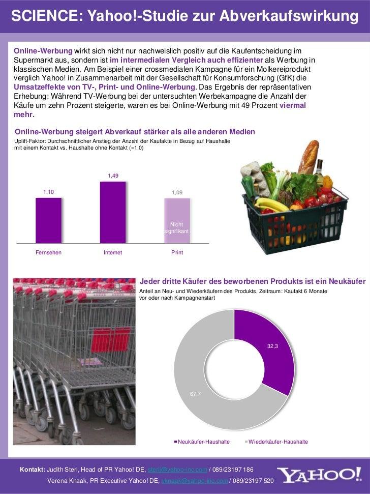 SCIENCE: Yahoo!-Studie zur AbverkaufswirkungOnline-Werbung wirkt sich nicht nur nachweislich positiv auf die Kaufentscheid...