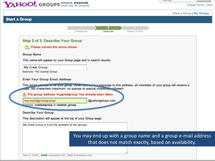 How to make a yahoo group email account