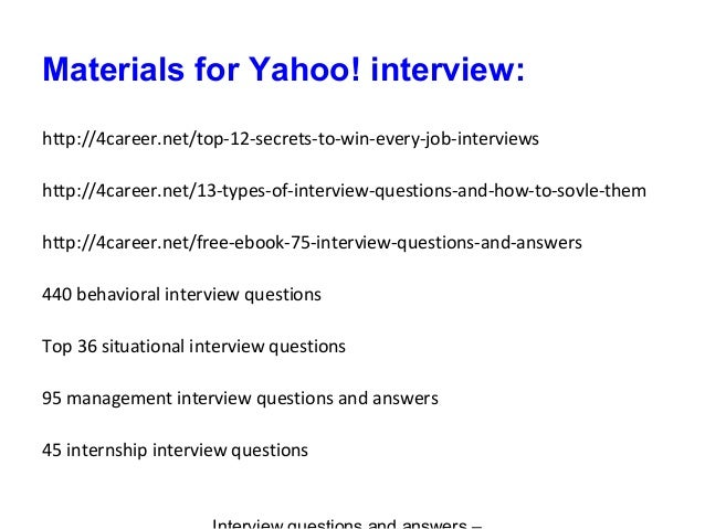yahoo interview questions and answers